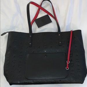 MCM Black Leather Bag (tote style with zipper)